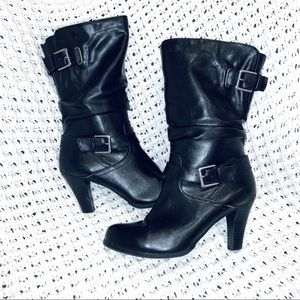 Style&co   Mid Calf Boots   Black   Leather   8.5
